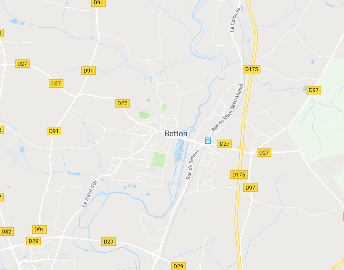 Carte GoogleMaps de la commune de Betton (35830)