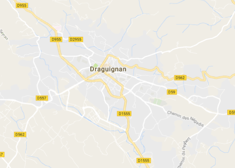 Carte GoogleMaps de la commune de Draguignan (83300)