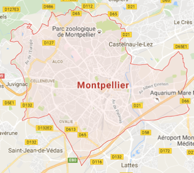 Carte GoogleMaps de la commune de Montpellier (34000)