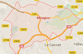 Carte GoogleMaps de la commune de Mougins (06250)