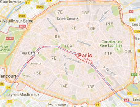 Carte GoogleMaps de la commune de Paris (75000)