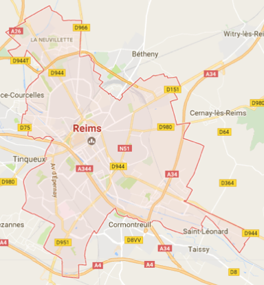 Carte GoogleMaps de la commune de Reims (51100)
