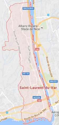 Carte GoogleMaps de la commune de Saint Laurent du Var (06700)