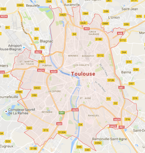 Carte GoogleMaps de la commune de Toulouse (31000)