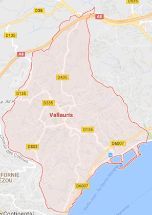 Carte GoogleMaps de la commune de Vallauris (06220)